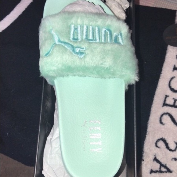 meet 2d59d a32de Fenty X Puma Mint green fur slides NWT